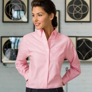UltraClub Ladies' Classic Wrinkle-Free Long-Sleeve Oxford Thumbnail