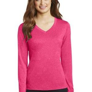 Sport Tek Ladies Long Sleeve Heather Contender ™ V Neck Tee Thumbnail