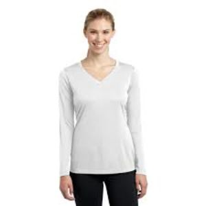 Sublimatable Ladies Long Sleeve PosiCharge Competitor V Neck Tee Thumbnail