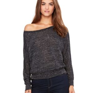 Bella + Canvas Women's Flowy Long Sleeve Off Shoulder Tee Thumbnail