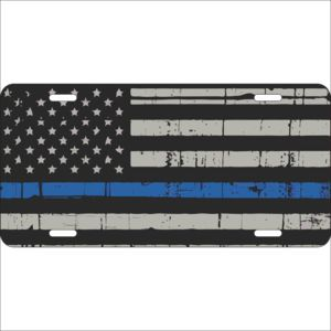 Blue Line Flag License Plate Thumbnail