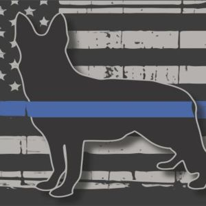 Blue Line Flag with Sherppard Dog License Plate Thumbnail