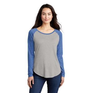 Ladies Sublimated PosiCharge Long Sleeve Tri Blend Wicking Scoop Neck Raglan Tee Thumbnail