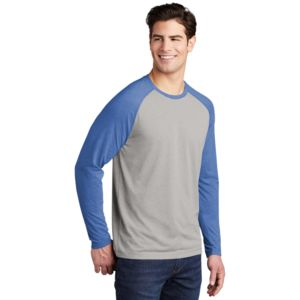 Mens Full Color PosiCharge Long Sleeve Tri Blend Wicking Raglan Tee Thumbnail