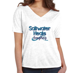 Ladies V-Neck Beach Saltwater Heals Everything Shirt Thumbnail
