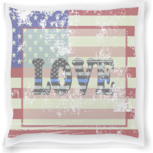 American Flag Pillow with LOVE Blue Line Inside Thumbnail