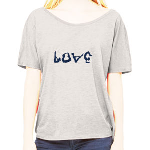 Ladies Love Yoga in Blue Slouch Tee Thumbnail