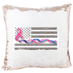 Mermaid Pillow with Breast Cancer and Blue Line Intertwined Thumbnail
