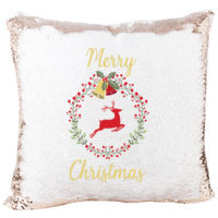 Mermaid Sequin Pillow Wreath Merry Christmas Reindeer  Thumbnail