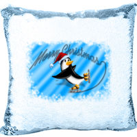 Mermaid Sequin Christmas Pillow with Penguin Skating and Merry Christmas Thumbnail