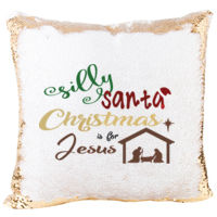 Mermaid Sequin Christmas Pillow with Christmas is for Jesus Thumbnail