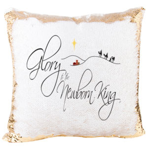 Mermaid Sequin Christmas Pillow with Glory to the Newborn King Thumbnail