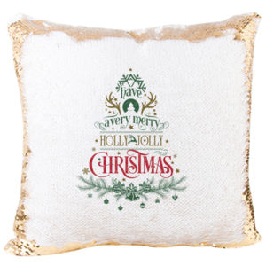 Have a Very Merry Holly Jolly Christmas with Tree Mermaid Sequin Pillow Thumbnail