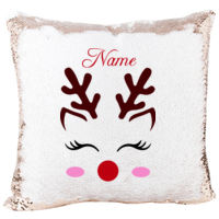Mermaid Sequin Pillow with Reindeer Face Eyelash Christmas Gift for Girls Thumbnail