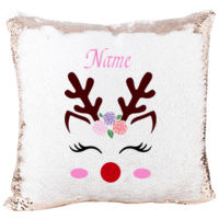 Mermaid Sequin Christmas Pillow with Beautiful Reindeer with lashes and flowers Thumbnail