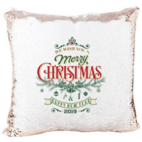 We Wish You a Merry Christmas Mermaid Sequin Christmas Pillow Thumbnail