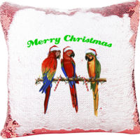 3 Parrot Merry Christmas Mermaid Sequin Christmas Pillow Thumbnail