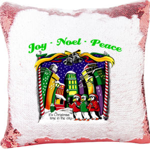 Merry Christmas in the City Mermaid Sequin Christmas Pillow Thumbnail