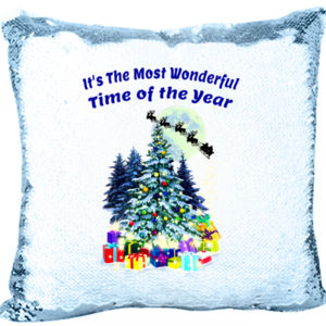 Merry Christmas with Presents and Tree Mermaid Sequin Pillow Thumbnail
