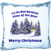 Most Wonderful Time of the Year with Forest Mermaid Sequin Pillow Thumbnail