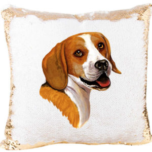 Beagle on a Custom Mermaid Sequin Pillow  Thumbnail