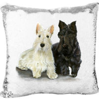 Scottish Terriers on a Custom Mermaid Sequin Pillow Thumbnail