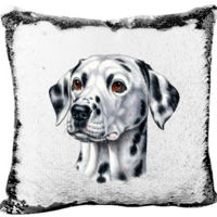 Dalmation on a Custom Mermaid Sequin Pillow Thumbnail