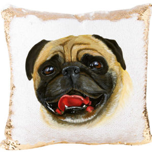 Funny Pug Face Mermaid Sequin Pillow  Thumbnail