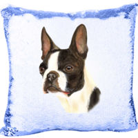 Mermaid Sequin Pillow with American Gentleman Boston Terrier Face Thumbnail