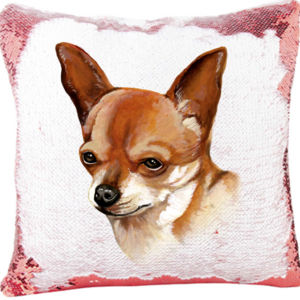 Mermaid Sequin Pillow with Chihuahua Face Thumbnail