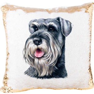 Schnauzer Face Mermaid sequin Pillow Thumbnail