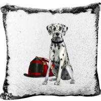 Fire Dalmatian Dog Department Mermaid Sequin Pillow  Thumbnail