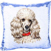 Mermaid Sequin Pillow with Toy Poodle Thumbnail