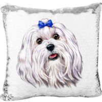 Maltese Face on the Mermaid Sequin Pillow Thumbnail