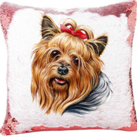 Mermaid Sequin Pillow with Yorkie Image - Add Your Pet's Name  Thumbnail