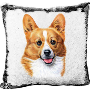 Welsh Corgi Dog - Mermaid Sequin Pillow  Thumbnail