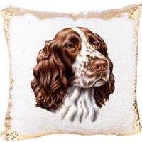 Springer Spaniel Dog Mermaid Sequin Pillow  Thumbnail
