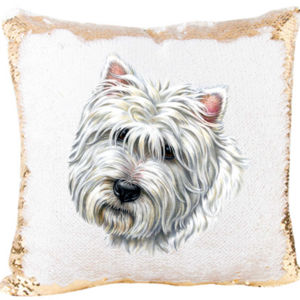 Westie Dog Mermaid Sequin Pillow for Dogs Lovers  Thumbnail