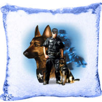 Security Patrol Dog's  Mermaid Sequin Pillow  Thumbnail