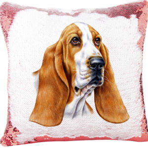 Basset Hound Dog Portrait on a Sequin Pillow Thumbnail