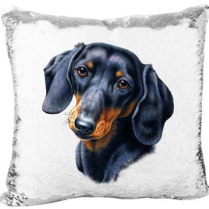 Dachshunds Dog on Mermaid Sequin Pillow Thumbnail