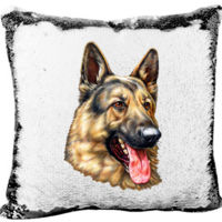 Mermaid Sequin Pillow with The German Shepherd Dog  Thumbnail