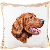 Mermaid Sequin Pillow with Irish Setter Dog Thumbnail