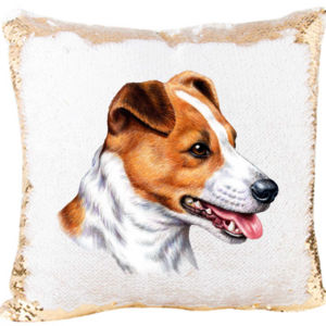 Jack Russel Mermaid Sequin Pillow Thumbnail
