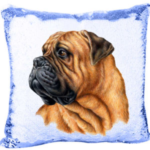 Bullmastiff Dog Mermaid Sequin Pillow  Thumbnail
