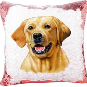 Mermaid SequinPillow with Yellow Lab Dog Thumbnail