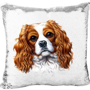 Mermaid Sequin Pillow with The Cavalier King Charles Spaniel Dog Thumbnail