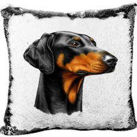 Doberman Mermaid Sequin Pillow  Thumbnail