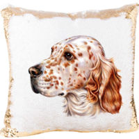 Mermaid Sequin Pillow with The English Setter Dog Thumbnail