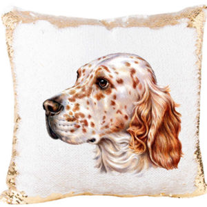 English Setter Dog on a Mermaid Sequin Pillow Thumbnail